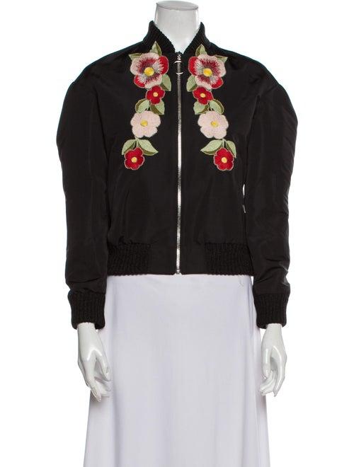 Gucci 2017 Floral Print Bomber Jacket Black