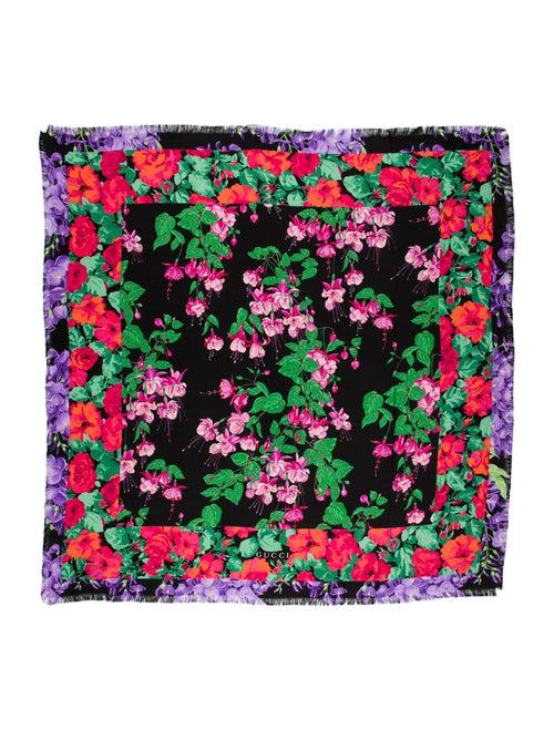 Gucci Silk Floral Print Scarf Black - image 1