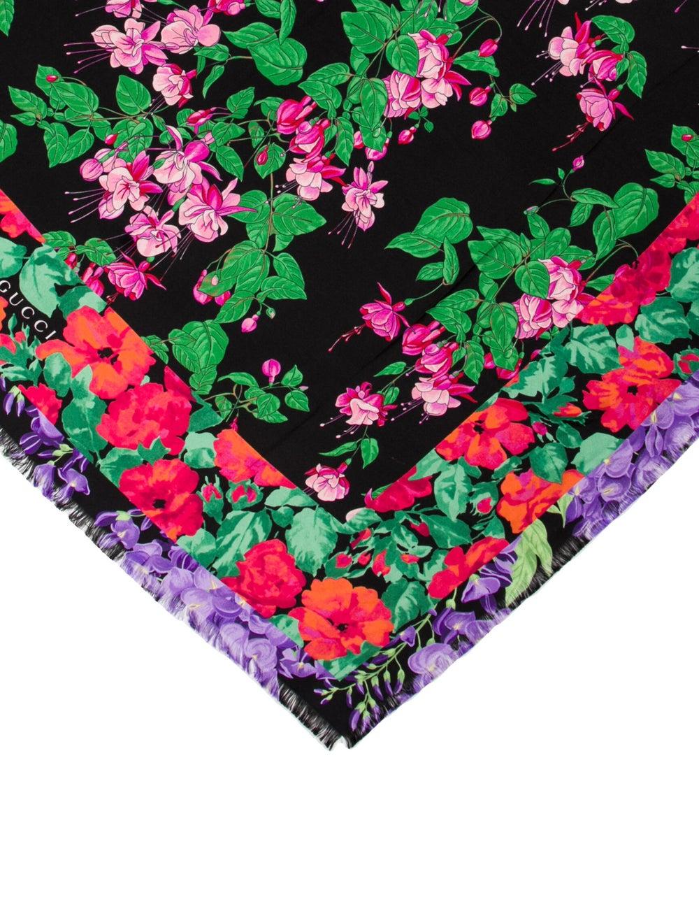 Gucci Silk Floral Print Scarf Black - image 2