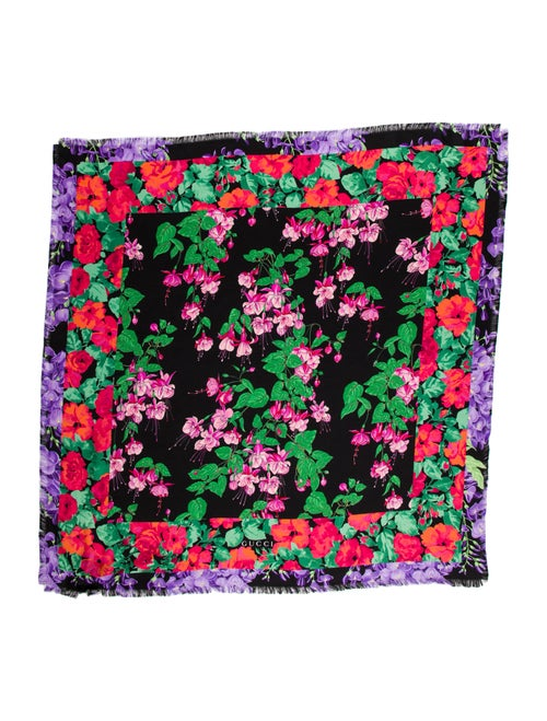Gucci Silk Floral Print Scarf w/ Tags Black - image 1