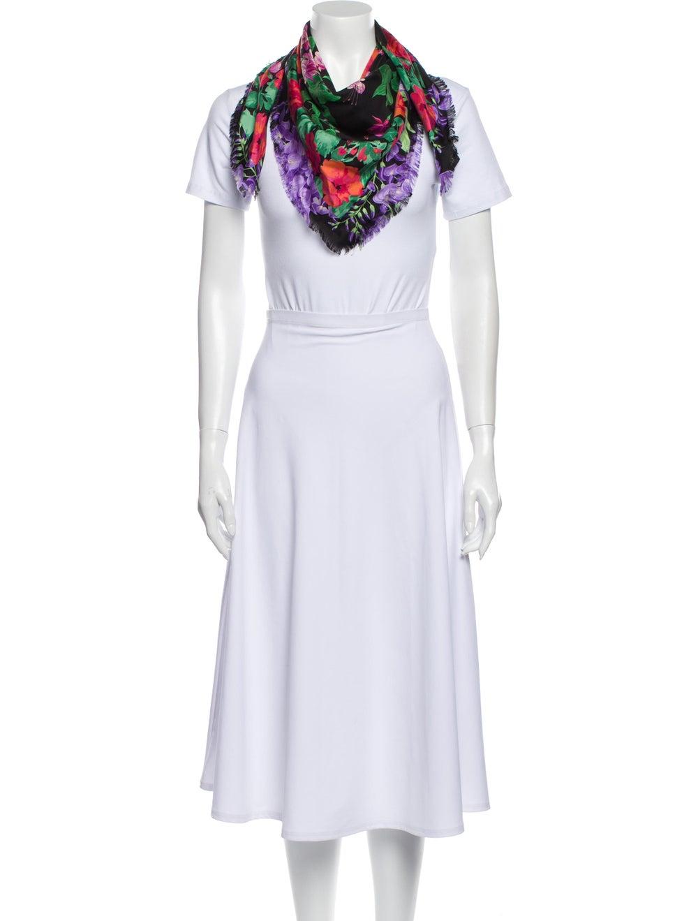 Gucci Silk Floral Print Scarf w/ Tags Black - image 3