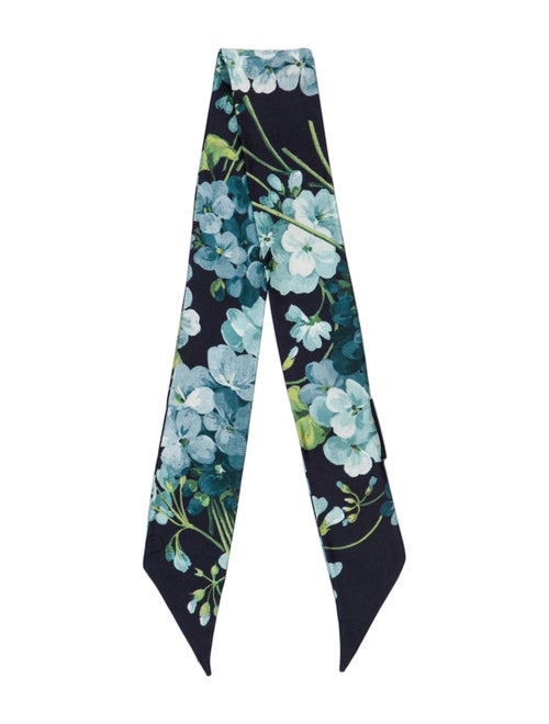 Gucci Silk Floral Print Bandeau w/ Tags Blue