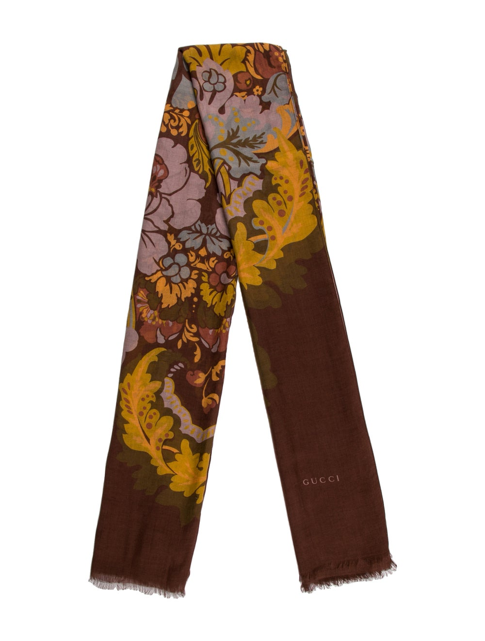 Gucci Livia Floral Print Scarf w/ Tags Brown - image 1