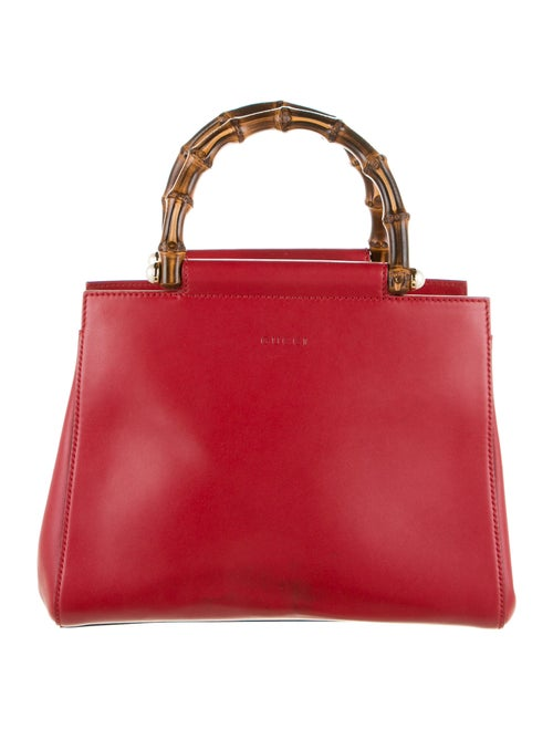 Gucci Small Nymphaea Bamboo Handle Bag Red - image 1