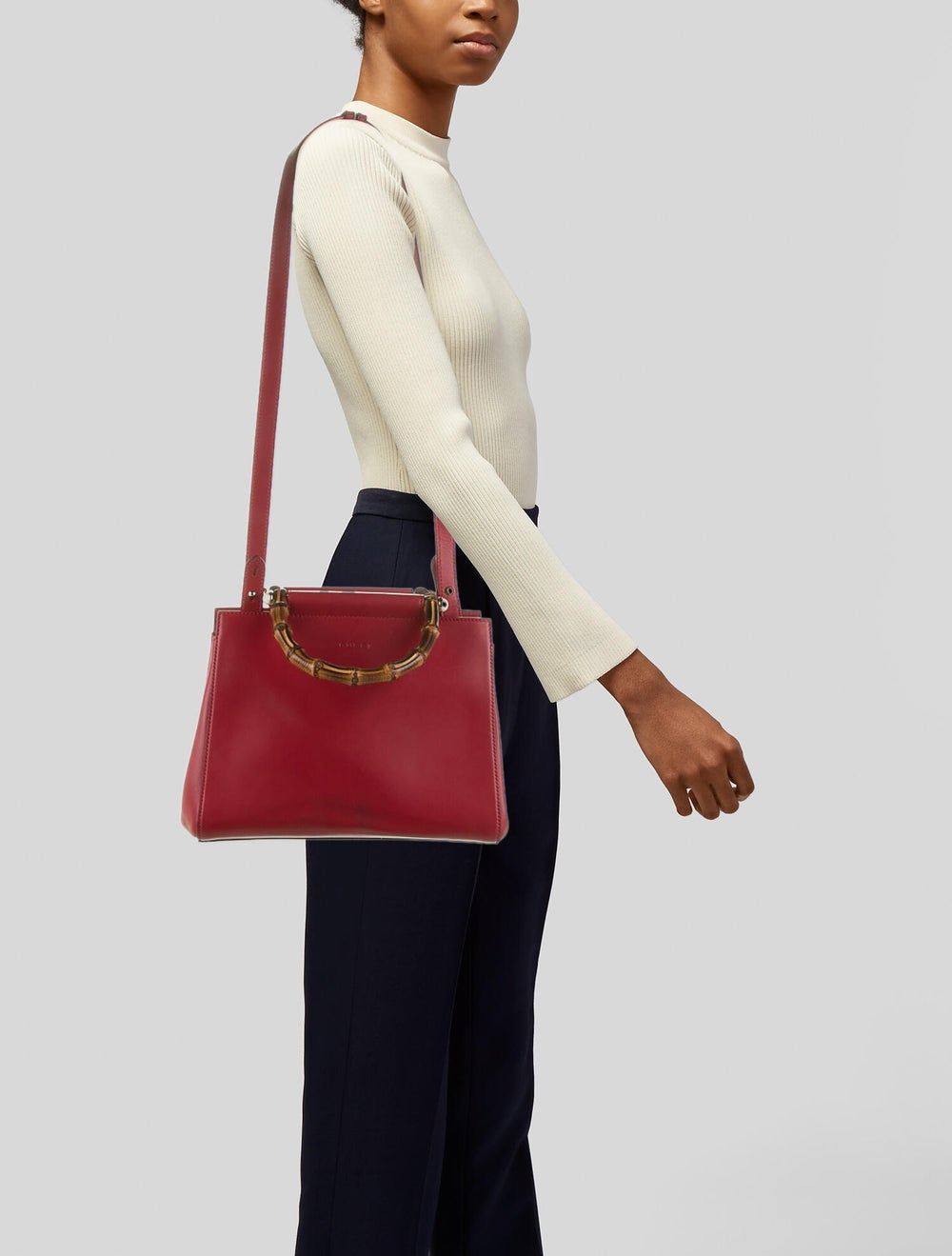 Gucci Small Nymphaea Bamboo Handle Bag Red - image 2