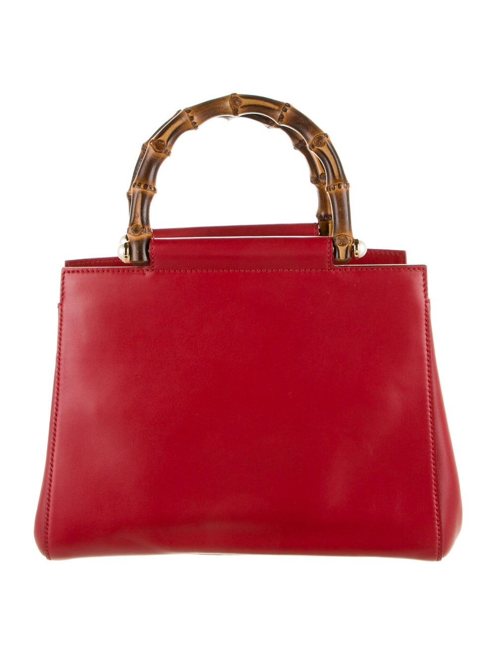 Gucci Small Nymphaea Bamboo Handle Bag Red - image 4