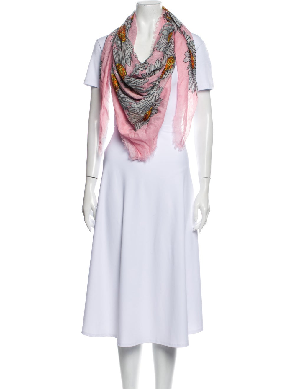 Gucci Floral Print Scarf Pink - image 3