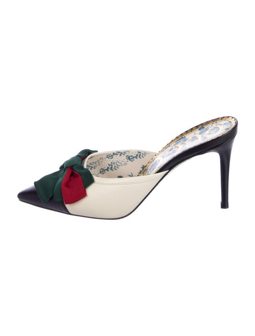 Gucci Web Accent Leather Mules - image 1