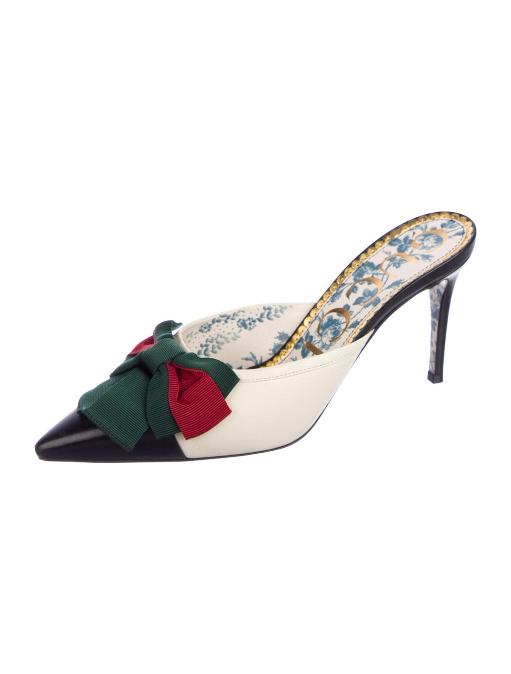 Gucci Web Accent Leather Mules - image 2