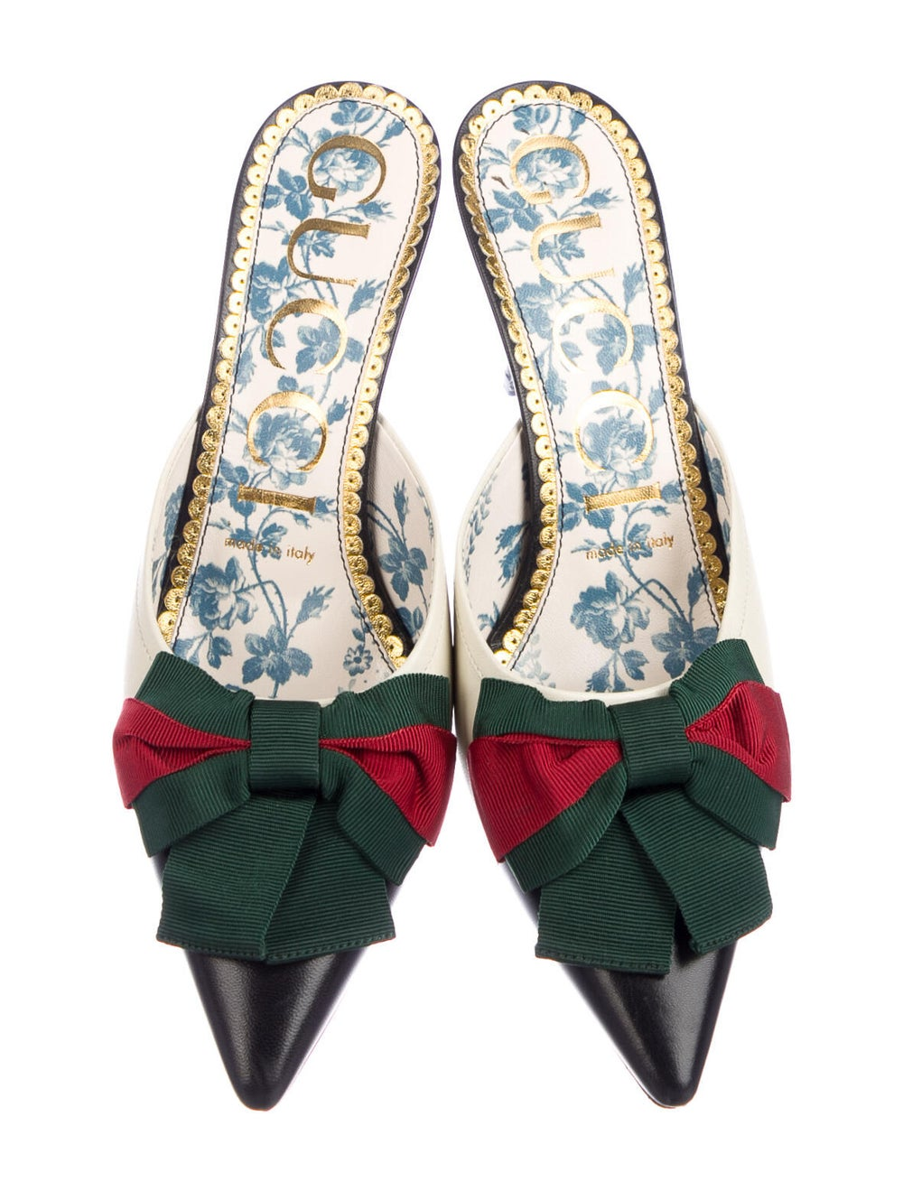 Gucci Web Accent Leather Mules - image 3