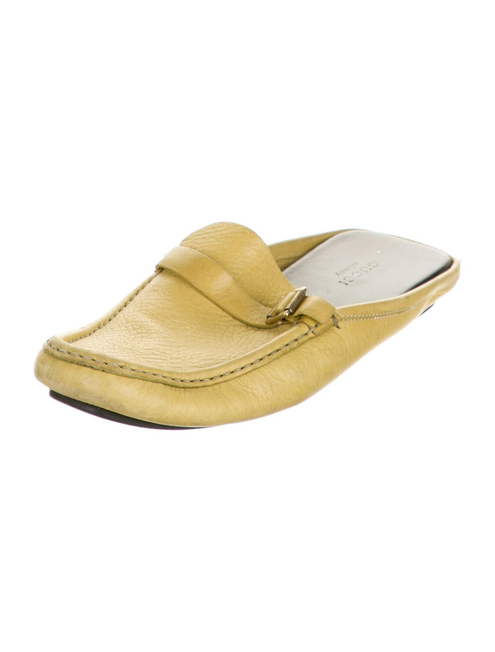 Gucci Leather Mules Yellow - image 2