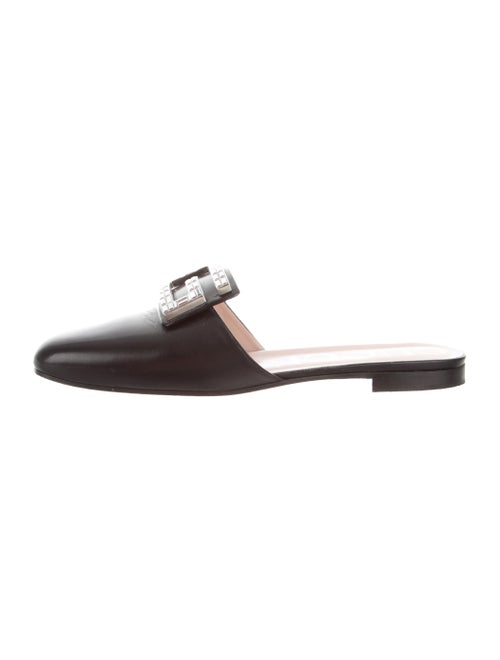 Gucci Leather Crystal Embellishments Mules Black - image 1