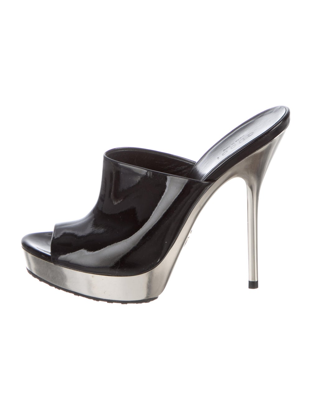 Gucci Patent Leather Mules Black - image 1