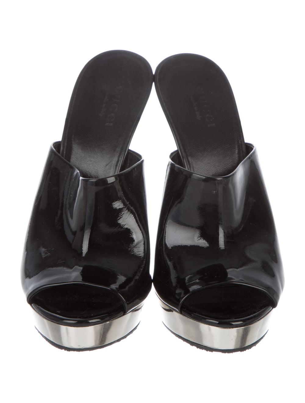 Gucci Patent Leather Mules Black - image 3