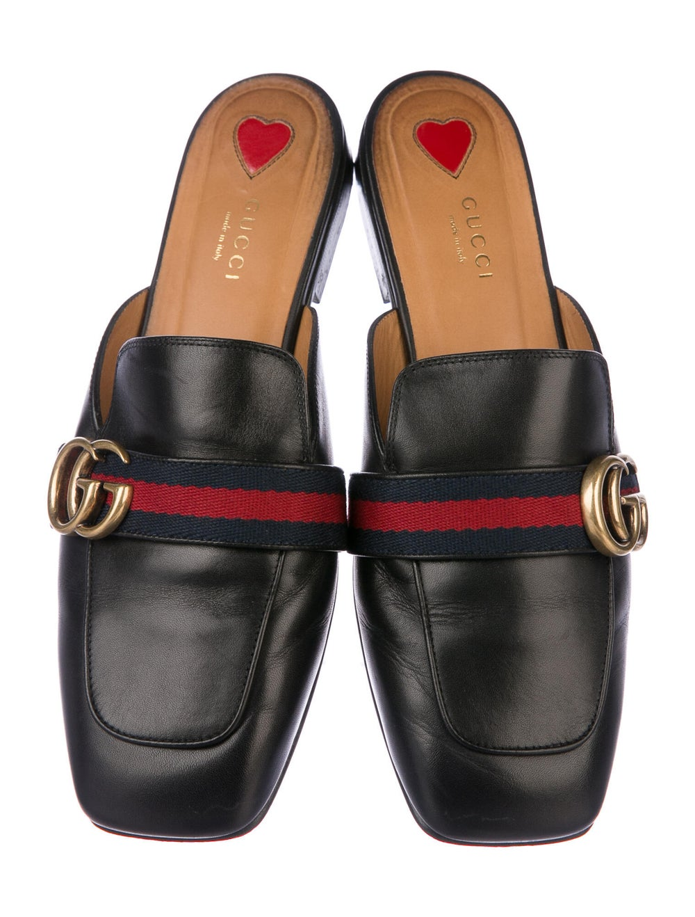 Gucci Web Accent Leather Mules Black - image 3