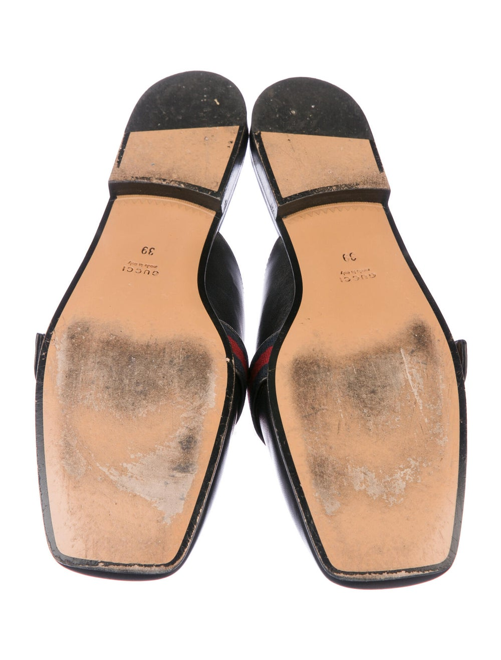 Gucci Web Accent Leather Mules Black - image 5
