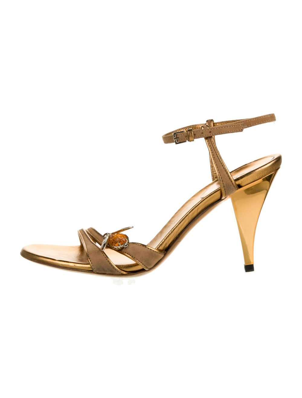 Gucci Leather Crystal Embellishments Sandals Gold - image 1