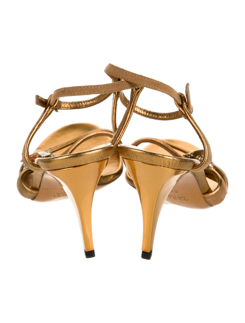 Gucci Leather Crystal Embellishments Sandals Gold - image 4