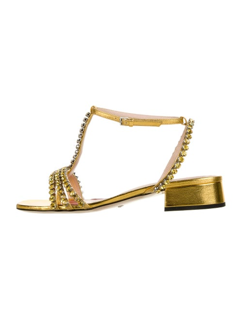 Gucci Leather Crystal Embellishments T-Strap Sand… - image 1