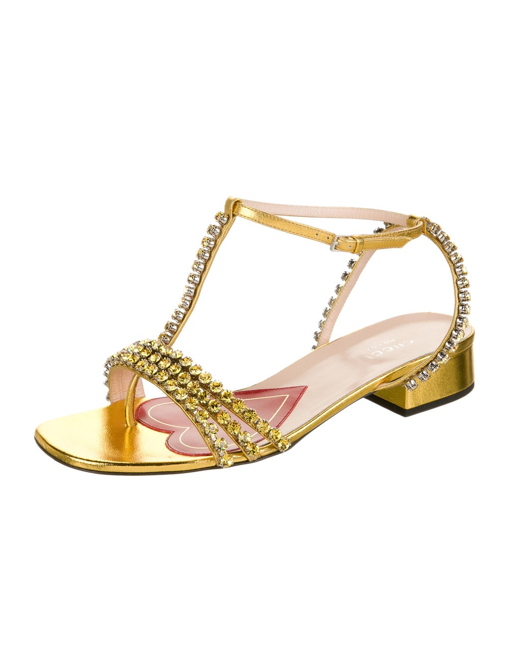 Gucci Leather Crystal Embellishments T-Strap Sand… - image 2