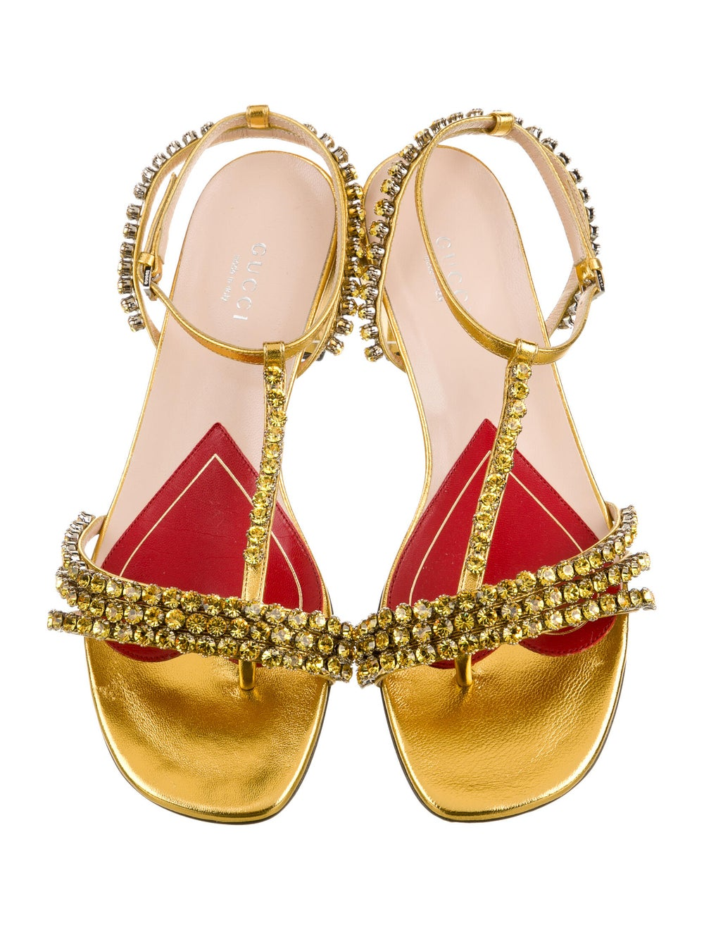 Gucci Leather Crystal Embellishments T-Strap Sand… - image 3