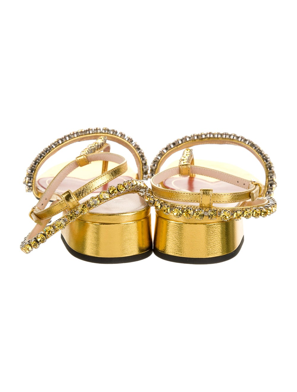 Gucci Leather Crystal Embellishments T-Strap Sand… - image 4