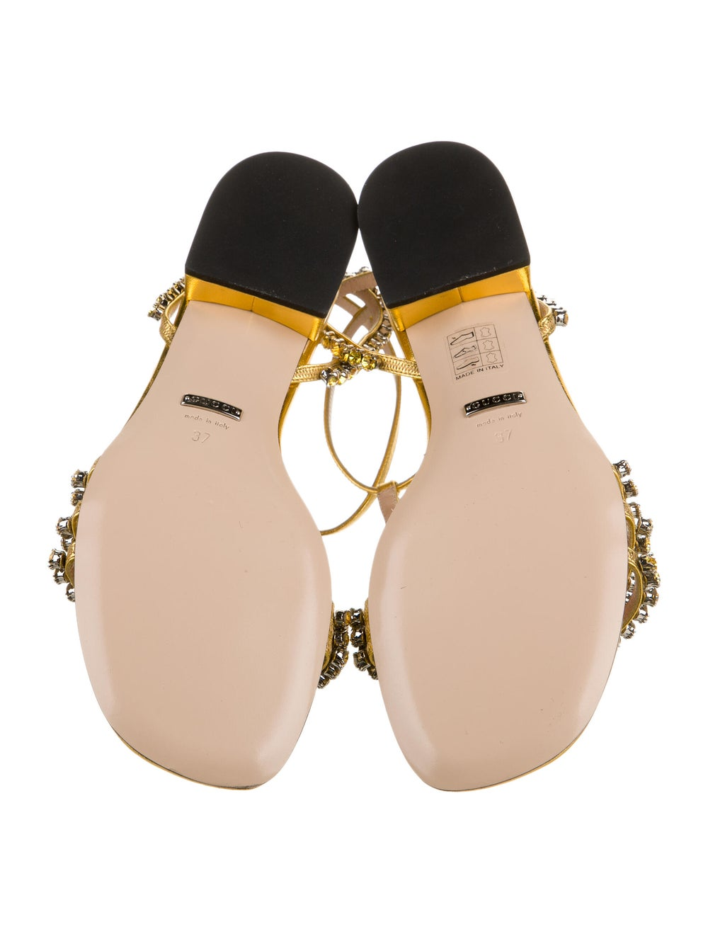 Gucci Leather Crystal Embellishments T-Strap Sand… - image 5