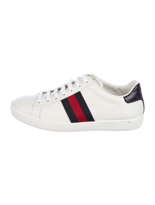 Gucci Sylvie Web Accent Leather Sneakers White - image 1