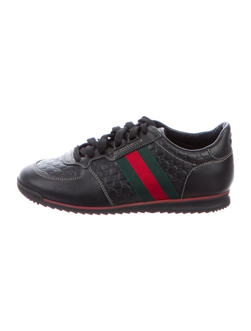 Gucci Web Accent Leather Sneakers Black - image 1