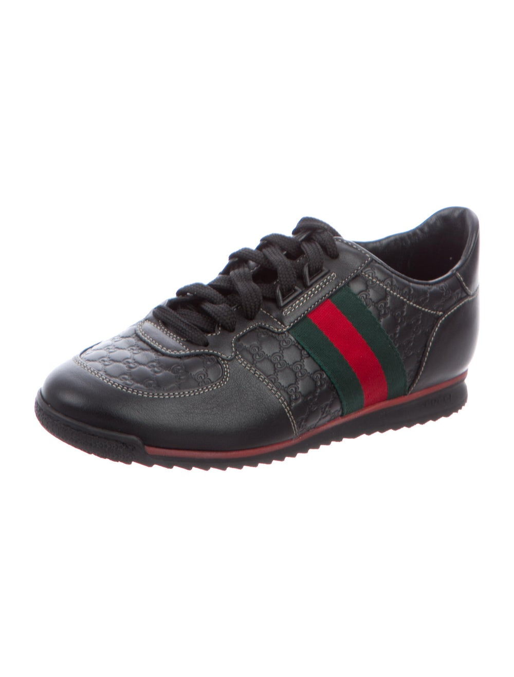 Gucci Web Accent Leather Sneakers Black - image 2