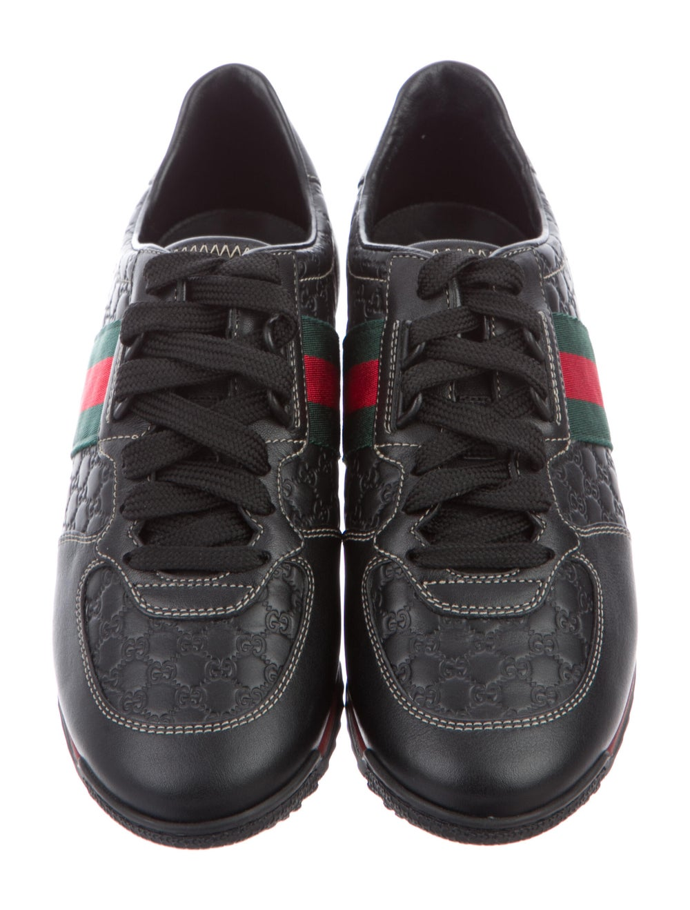 Gucci Web Accent Leather Sneakers Black - image 3