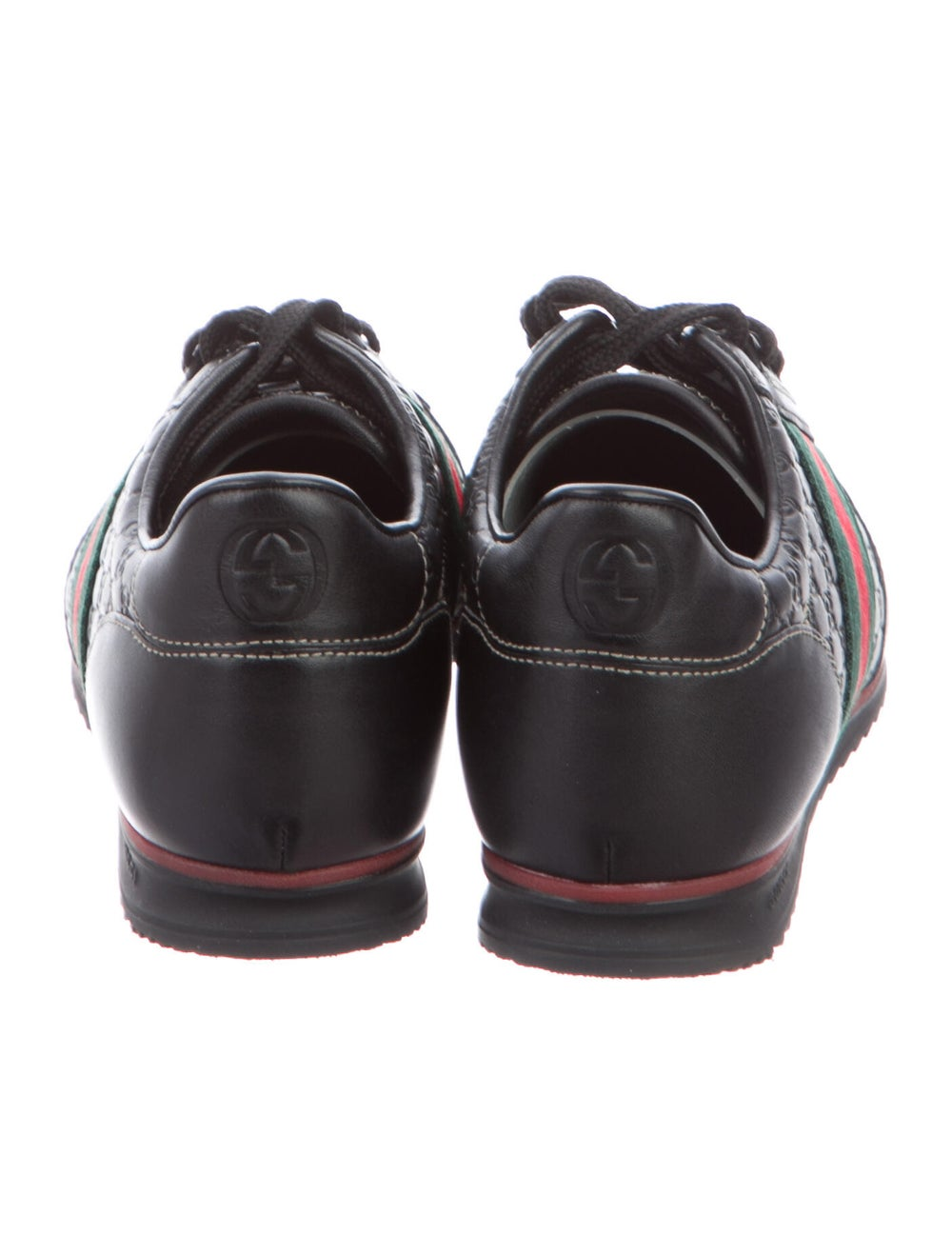 Gucci Web Accent Leather Sneakers Black - image 4
