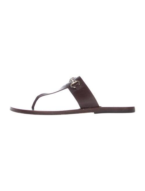 Gucci Horsebit Accent Leather Slides Brown - image 1