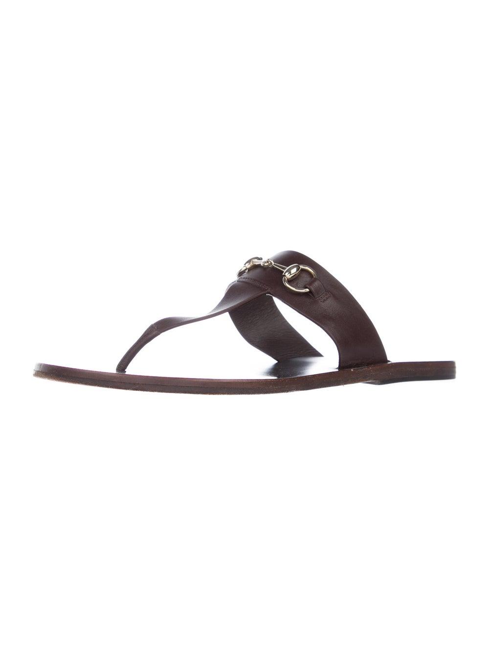 Gucci Horsebit Accent Leather Slides Brown - image 2