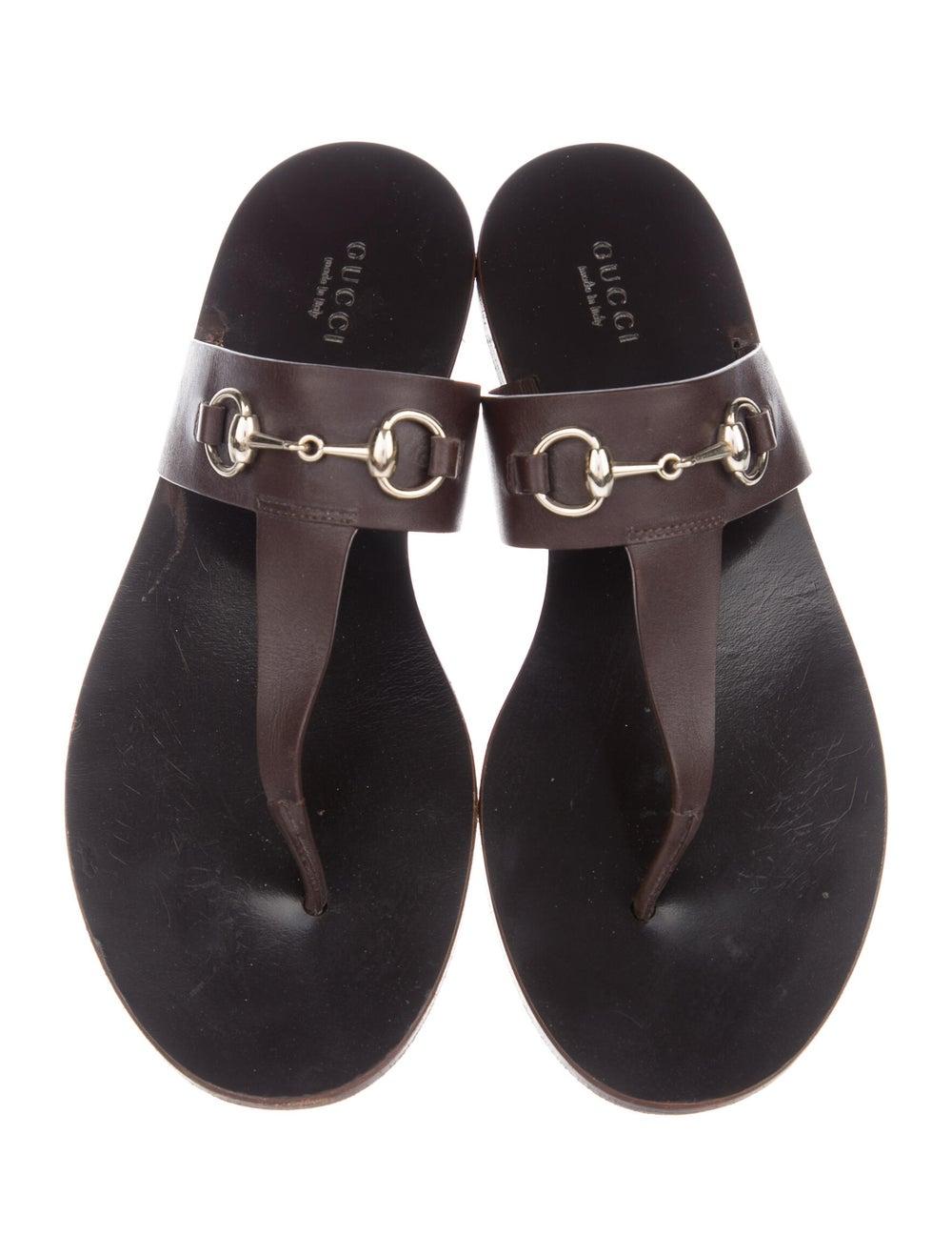 Gucci Horsebit Accent Leather Slides Brown - image 3