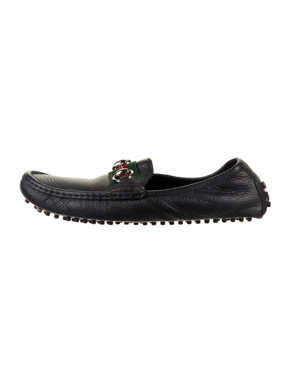 Gucci Web Accent Leather Loafers Black - image 1