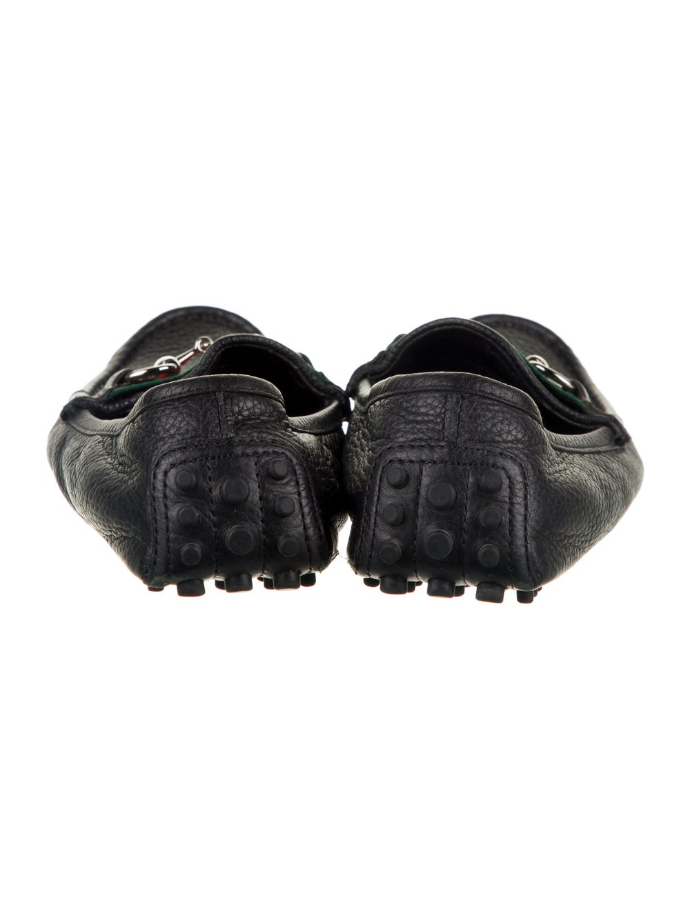 Gucci Web Accent Leather Loafers Black - image 4