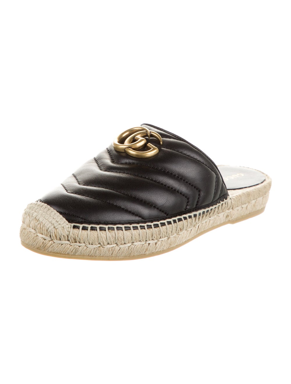 Gucci Double G Logo Leather Mules Black - image 2