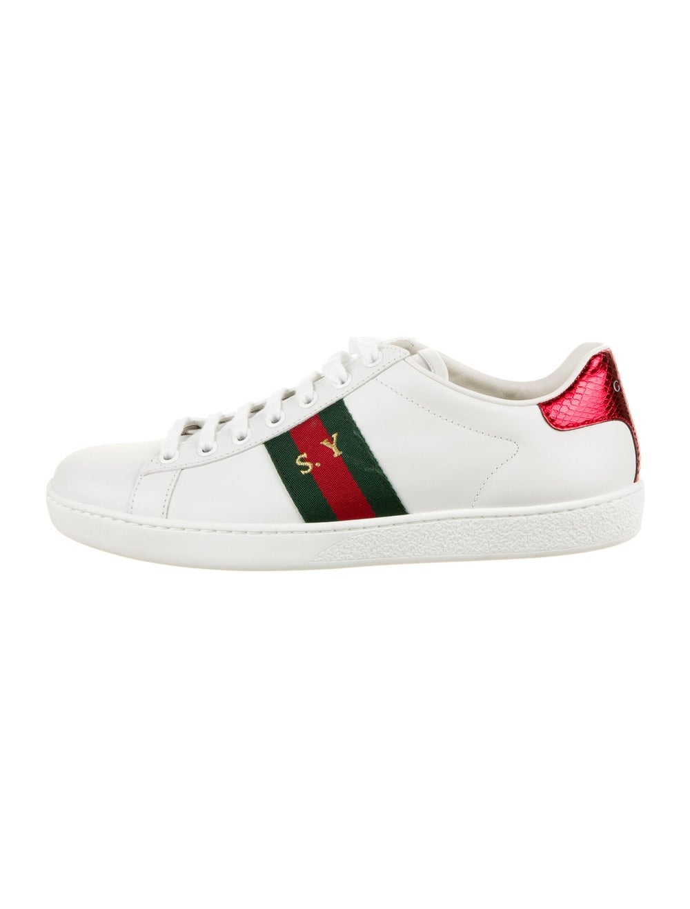 Gucci Web Accent Leather Sneakers White - image 1