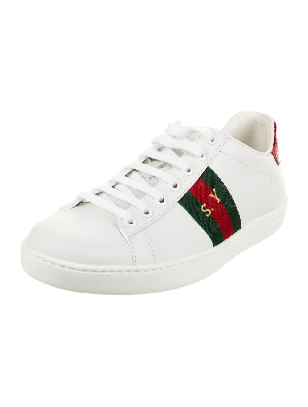 Gucci Web Accent Leather Sneakers White - image 2
