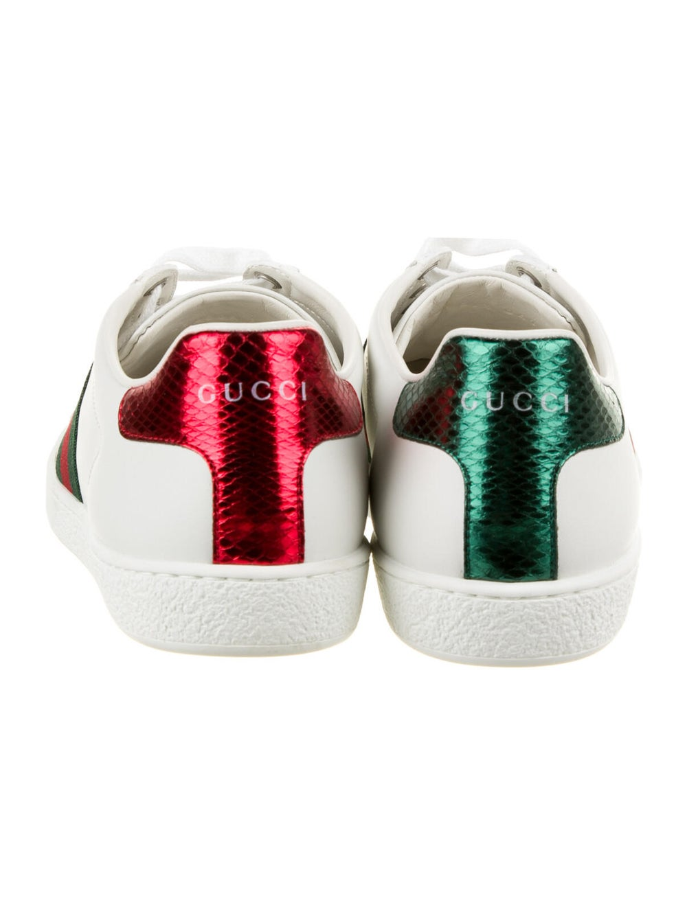 Gucci Web Accent Leather Sneakers White - image 4