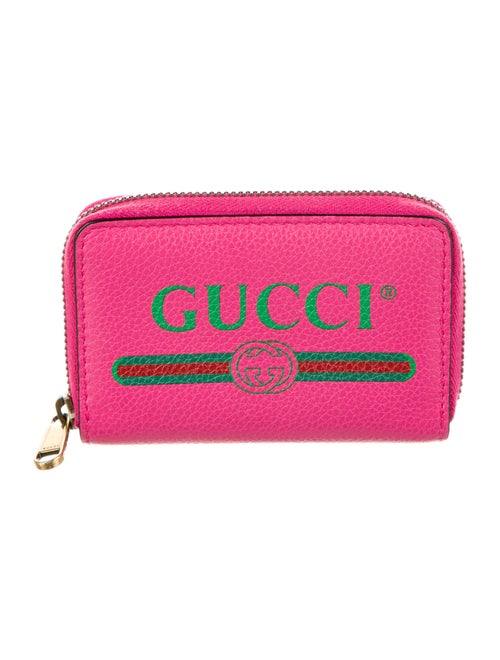 Gucci Web Accent Leather Compact Wallet Pink - image 1