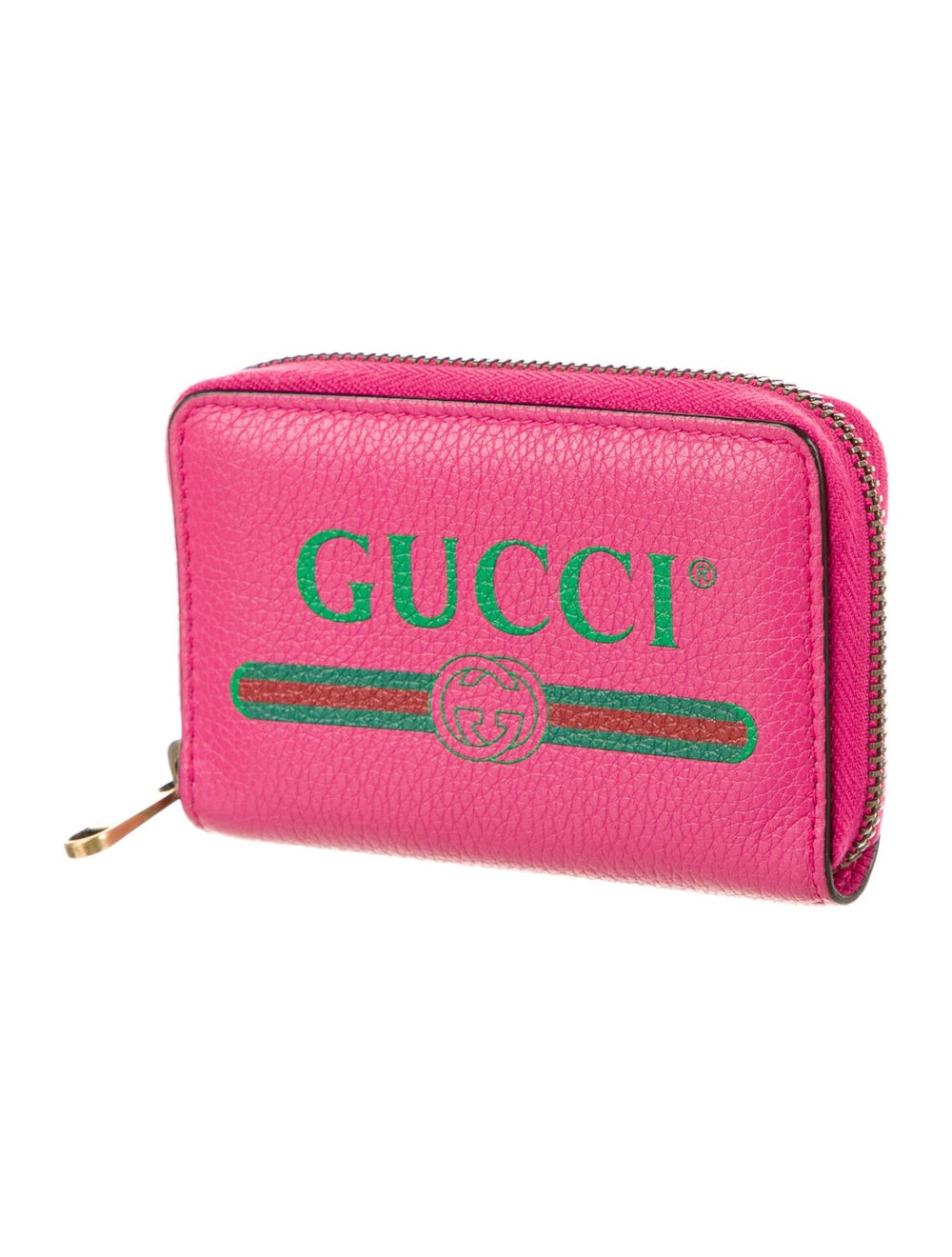 Gucci Web Accent Leather Compact Wallet Pink - image 3