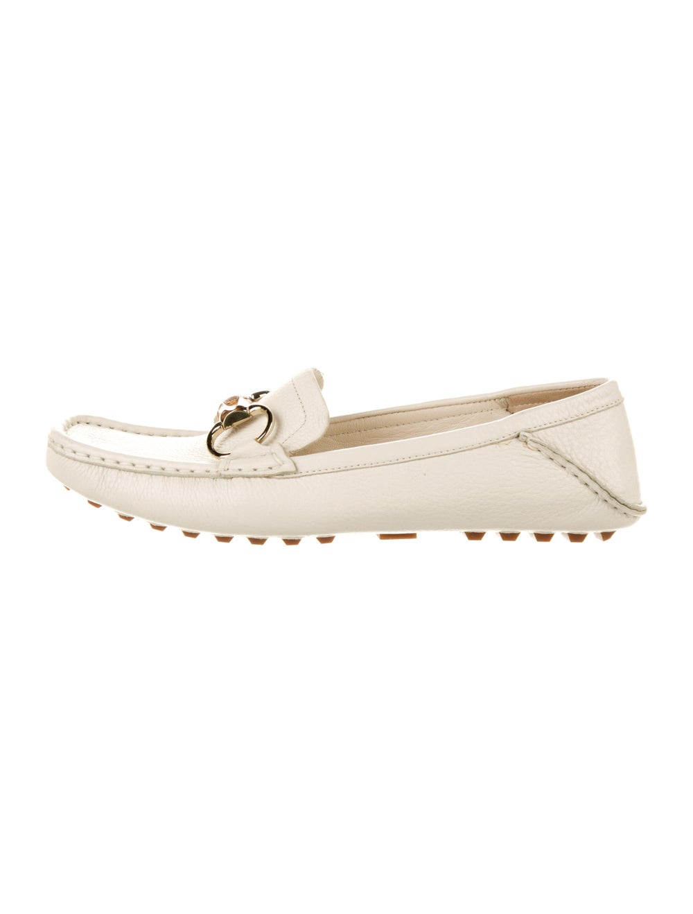 Gucci Horsebit Accent Leather Loafers White - image 1