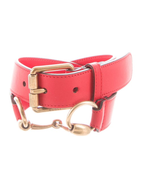Gucci Horsebit Accent Leather Belt Red - image 1