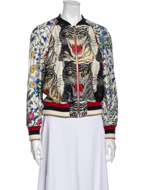 Gucci Patchwork Print Silk Bomber Silk Bomber Jack