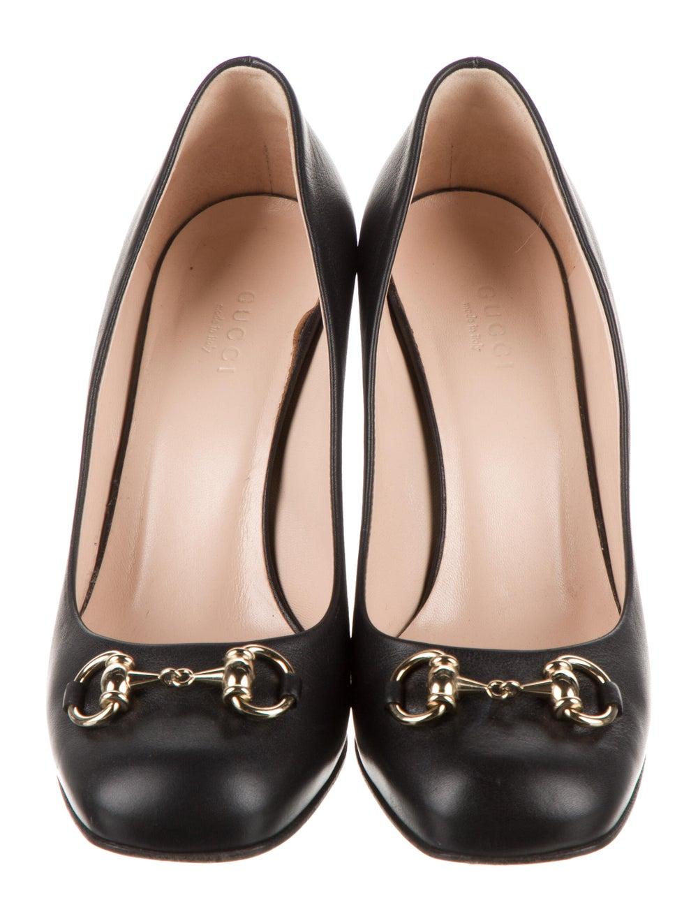 Gucci Horsebit Accent Leather Pumps Black - image 3