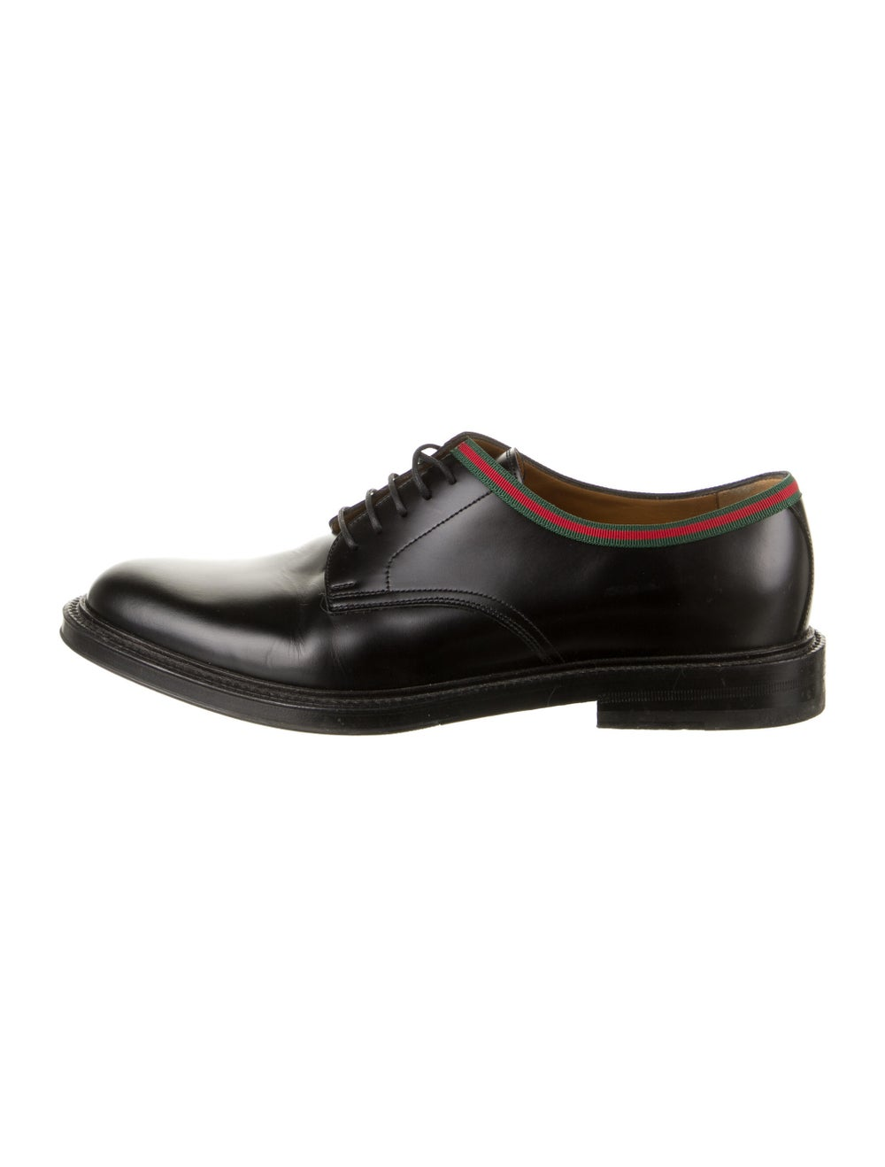 Gucci Web Accent Leather Derby Shoes Black - image 1