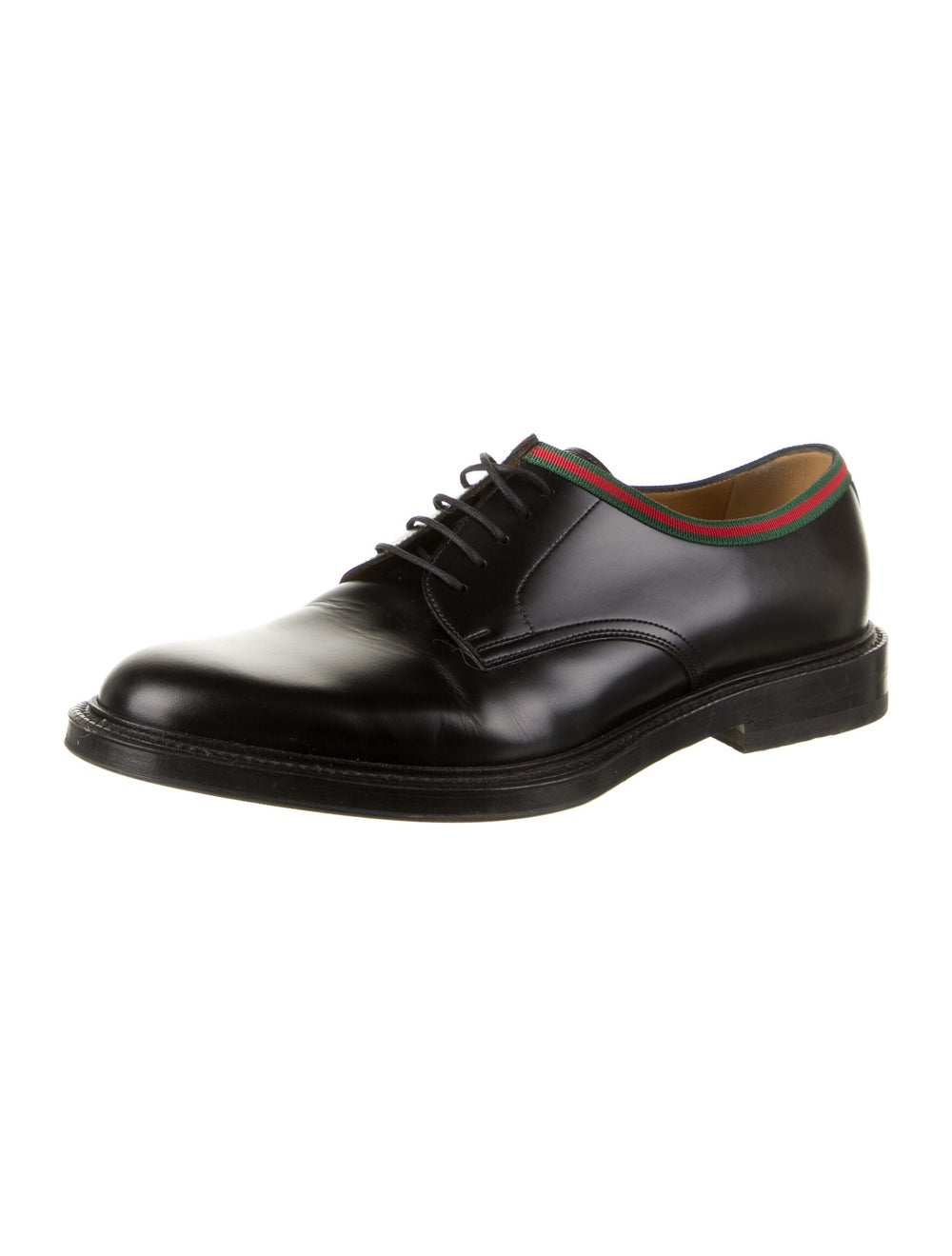 Gucci Web Accent Leather Derby Shoes Black - image 2