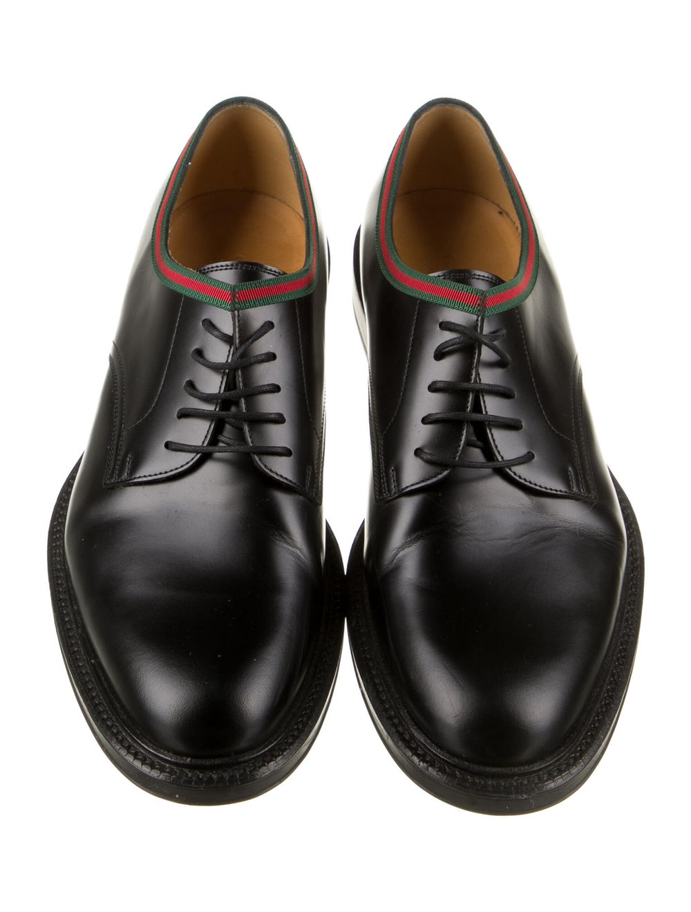 Gucci Web Accent Leather Derby Shoes Black - image 3